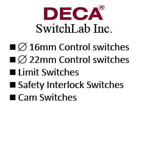 DECA 16mm Control switches - 22mm Control switches - Limit Switches - Safety Interlock Switches - Cam Switches
