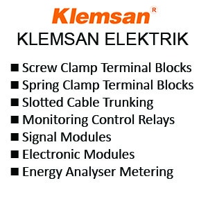 Klemsan Screw Clamp Terminal Blocks - Spring Clamp Terminal Blocks - Slotted Cable Trunking - Monitoring Control Relays - Signal Modules - Electronic Modules - Energy Analyser Metering