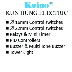 Koino 16mm Control switches - 22mm Control switches - Relays & Mini Timer - PID Controllers - Buzzer & Multi Tone Buzzer - Tower Light