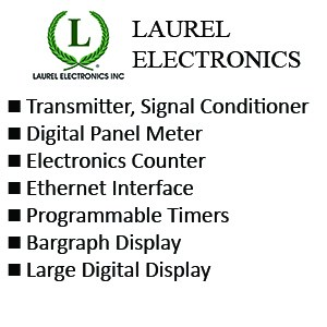 Laurel Transmitter, Signal Conditioner - Digital Panel Meter - Electronics Counter - Ethernet Interface - Programmable Timers  - Bargraph Display - Large Digital Display