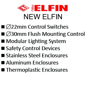 New Elfin 22mm Control Switches - E30mm Flush Mounting Control - Modular Lighting System - Safety Control Devices - Stainless Steel Enclosures  - Aluminum Enclosures - Thermoplastic Enclosures